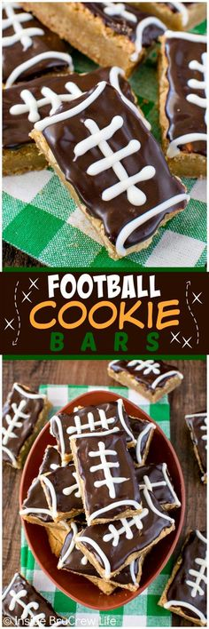 Football Cookie Bars - easy cookie bars decorated with chocolate to look like footballs. Great recipe for sports parties or game days!