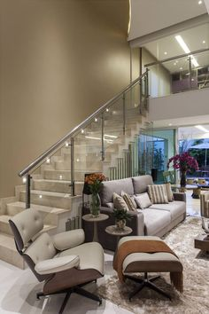 A fine selection of the best interior design trends to get you inspired! Interior Stairs, Home Interior Design, Living Room Designs, Living Spaces, Modern Stairs, Staircase Design, Dream Decor, Home And Living, Style At Home