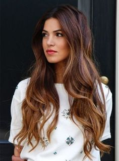Brown Ombre & Long Wavy Hair with Highlight.