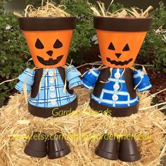 Shop for planter on Etsy, the place to express your creativity through the buying and selling of handmade and vintage goods. Halloween Clay, Halloween Labels, Halloween Crafts For Kids, Diy Halloween Decorations, Flower Pot Art, Clay Flower Pots, Flower Pot Crafts, Clay Pot Projects, Clay Pot Crafts