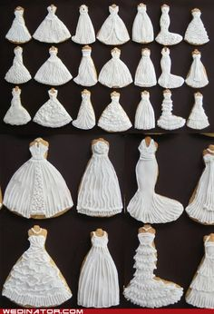 bridal couture cookies funny wedding photos Hall of Fame wedding dresses - 5897427456 Fancy Cookies, Iced Cookies, Cute Cookies, Royal Icing Cookies, Cupcake Cookies, Sugar Cookies, Owl Cookies, Wedding Dress Cookies, Wedding Shower Cookies