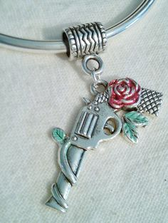 Handpainted Pistol  Charm Great For Euro  Bracelets Necklaces With Bail by PersnicketyPatty on Etsy