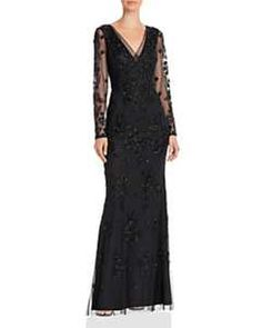Adrianna Papell Long Sleeve Beaded Gown In Black Black Lace Bridesmaid Dress, Black Bridesmaid Dresses, Long Summer Dresses, Evening Dresses, Fancy Dress Short, Dress Long, Proper Attire, Mother Of The Bride Dresses Long, Long Sleeve Gown
