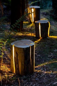 55 Easy and Creative DIY Outdoor Lighting Ideas – Landscape lighting design – - All About Decoration Reclaimed Wood Projects, Salvaged Wood, Reclaimed Wood Furniture, Log Wood Projects, Salvaged Decor, Lathe Projects, Recycled Furniture, Backyard Lighting, Outdoor Lighting