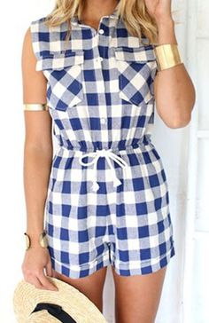 Plaid Waist Drawstring Romper ==