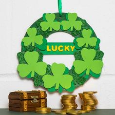 Free Kids St Patrick's Day Craft Ideas | Baker Ross | Creative Station St Patrick's Day Crafts, Holiday Crafts, Fun Crafts, Holiday Decor, Different Shades Of Green, Craft Free, Luck Of The Irish, Green Glitter, Wreath Crafts