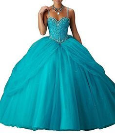 Leho Women's Straps Beaded Tulle Ball Gown Sweet 16 Quinceanera Dresses 18 US Teal - Brought to you by Avarsha.com