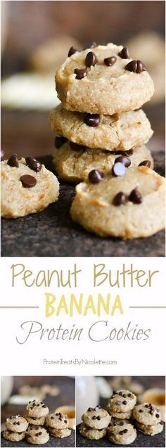 Peanut Butter Banana Protein Cookies #healthy #protein #proteincookies #eatclean #cleaneating #peanutbutter
