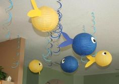 Decorations at a Shark Party #shark #party