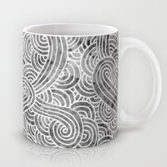 """Grey and white arabesques"" Mug by Savousepate - $15.00 #mug #black #white #grey #gray #blackandwhite #zentangle #doodles #scrolls #pattern"
