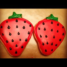 Strawberry decorated sugar cookies.