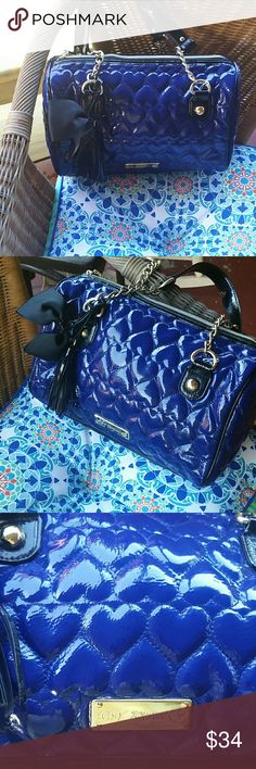 Absolutely Gorgeous Electric Blue Bag Betsy Johnson Boston Bag Satchel  This bag is patented blue and black, with the Betsy  Johnson twist.  It is adorned with a bold black ribbon tied in a bow. A real statement bag. Betsey Johnson Bags Satchels