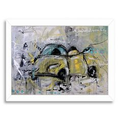 Americanflat Car Yellow by Annie Rodrigue Framed Painting Print