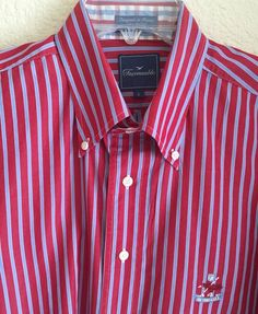 Faconnable Men's Size Large Button Front Shirt Red and Gray Striped Pattern #Faonnable #ButtonFront