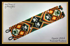 2015 45 Wolf Paws 2 Square Stitch by TrinityDJ Beading Patterns Free, Bead Loom Patterns, Peyote Patterns, Bracelet Patterns, Seed Bead Jewelry, Seed Beads, Beaded Jewelry, Loom Bands, Bead Loom Designs