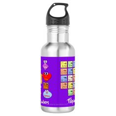 Learn Filipino Alphabet and Numbers Stainless Steel Water Bottle - kids birthday party gift idea child