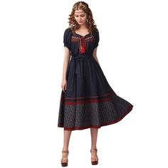 Artka Women's Ethnic Embroidery Belted Waist Swing Dress LA13042X,NavyBlue,AVG