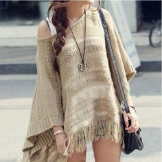 Batwing Sleeve Knit Women Sweater