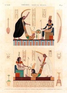 Grabado coloreado que representa el interior de una tumba de Tebas conocida como la de Bruce, por el hecho que descubriera esta imagen de unos arpistas. Extraído de la Description de l´Egypte, fue dibujado por Dutertre y grabado por Monsaldy.