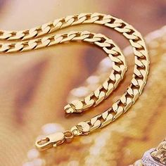 ~Handsome~9K SOLID GOLD FILLED MEN'S Chain Necklace 24 Inches,C131