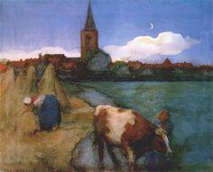 Piet Mondrian, View of Winterswijk, De Stijl, Modern art Piet Mondrian, Wassily Kandinsky, Landscape Art, Landscape Paintings, Watercolor Landscape, Cow Art, Dutch Painters, Dutch Artists, Art Moderne