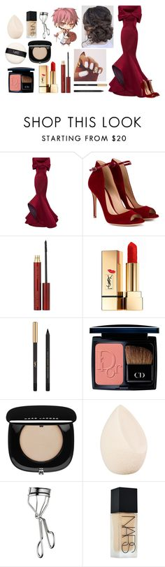 """""""Yule ball with Akashi"""" by harrypotter-gurl ❤ liked on Polyvore featuring Monique Lhuillier, Gianvito Rossi, Kevyn Aucoin, Yves Saint Laurent, Christian Dior, Marc Jacobs, Lancôme and NARS Cosmetics"""