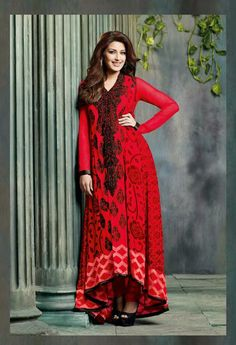 USD 74.05 Sonali Bendre Raveena Tandon Red Resham Work Faux Georgette Designer Salwar Suit 32009