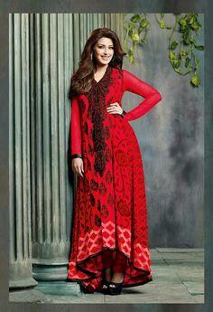 USD 74.05 Sonali Bendre Raveena Tandon Red Resham Work Faux Georgette Designer Salwar Suit 32009