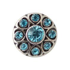 "Chunk Snap Charm Petite Mini 12mm Turquoise Crystals, 1/2"" Diameter"