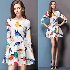 Ucuz Doğrudan Çin Kaynaklarında Satın Alın: Ve #12288;Yeni moda kadın zarif taze kuş çiçek baskı ince 3/4 kollu elbise 2 renközellikleri:100% yepyeni.2 tipi mevcuttur.#1 3/4 kollu elbise2 renk: beyaz, siyahMalzeme: polyester3 boy mevcut:birSian