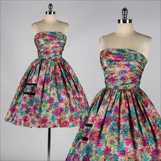 vintage 1950s dress . silk floral . strapless cocktail dress . 4184