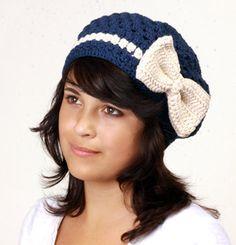 Crochet Hat Pattern for Bow Beret by MomohanaKobo on Etsy, $5.00