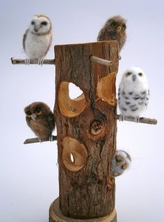 """Owl Hooootel .............life was good at the ""Owl Hooootel"",all the rooms were bright and airy!........ needle felted owls with real wood 'Hooootel'... nice way to display these little birds,all around 2"" tall."