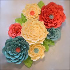 Set of 7 Giant Paper Flowers-custom listing for by LuxyFlowers
