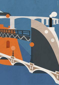 Illustrazione per la città di Taranto. I ponti. Ponti, My Works, Symbols, Art, Art Background, Icons, Kunst, Glyphs, Art Education