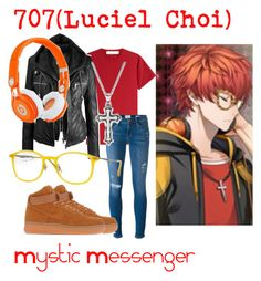 """707(Luciel Choi) from Mystic Messenger"" by kayxiv1256 ❤ liked on Polyvore featuring dVb Victoria Beckham, Beats by Dr. Dre, Frame Denim, NIKE and Ray-Ban"