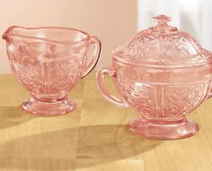 pink depression glass sugar and creamer (ebay)