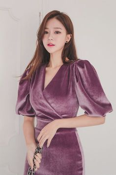 [리치아 벨벳 원피스] in 2019 Stylish Dresses, Elegant Dresses, Pretty Dresses, Diy Dress, Dress Outfits, Modest Fashion, Fashion Dresses, Glamorous Evening Dresses, Velvet Bridesmaid Dresses
