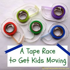 A Tape Race to Get Kids Moving - practice colors, counting, fine motor skills, and gross motor skills in this fun game!