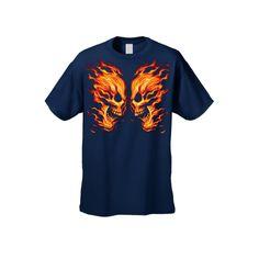 17739eb1ce4 Men s Unisex T Shirt Flaming Skulls Face Off Biker Short Sleeve Tee