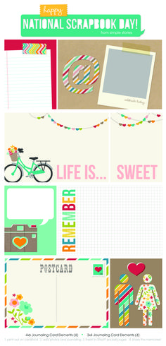 we've created these CUTE 4x6 and 3x4 free journaling card elements for you from our brand new I Heart Summer line
