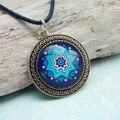 Kette Blau Mandala Stern Mandala Anhänger von KIMAMAdesign auf Etsy