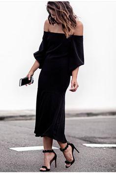 Off-the-Shoulder lbd & heels.