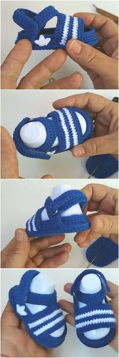 Crochet Adidas Baby Sandals - We Love Crochet - We Love Crochet - . - Crochet Adidas Baby Sandals – We Love Crochet – We Love Crochet – shoes shoe - Crochet Baby Boots, Crochet Baby Sandals, Crochet Shoes, Crochet Slippers, Love Crochet, Crochet For Kids, Knit Crochet, Simple Crochet, Knitted Baby