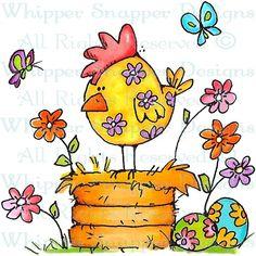 Floral Spring Chicken - Easter - Rubber Stamps