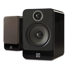 The award winning Q Acoustics 2020i bookshelf loudspeaker in gloss black