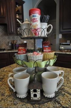 Cupcake holder as a coffee bar. Super cute for small group meetings at our house.  :-)