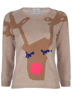 A super-sweet reindeer sweater for this Best Christmas Jumpers, Xmas Jumpers, Christmas Trends, Christmas Fashion, Christmas Clothing, Christmas Jumper Day, Christmas Sweaters, White Christmas, Christmas Vouchers
