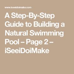 A Step-By-Step Guide to Building a Natural Swimming Pool – Page 2 – iSeeiDoiMake