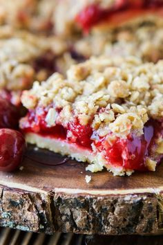 We love pie, and crisps so when summer hit and everyone was posting their favorite backyard bbq desserts we had to do a cherry crisp bars mashup recipe.